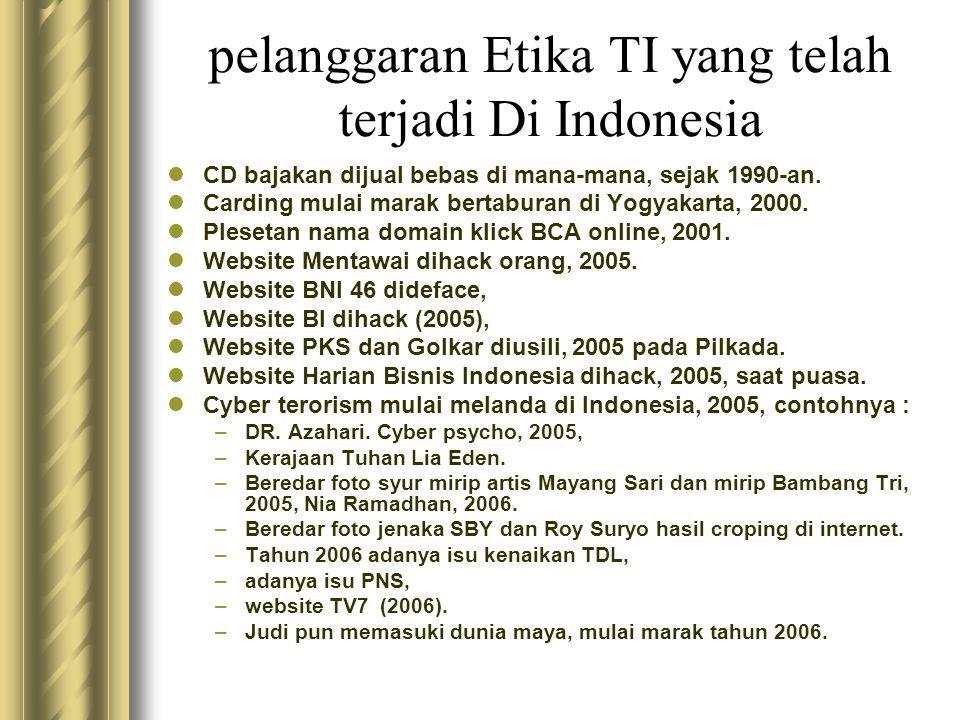 pelanggaran Etika TI yang telah terjadi Di Indonesia  CD bajakan dijual bebas di mana-mana, sejak 1990-an.  Carding mulai marak bertaburan di Yogyak