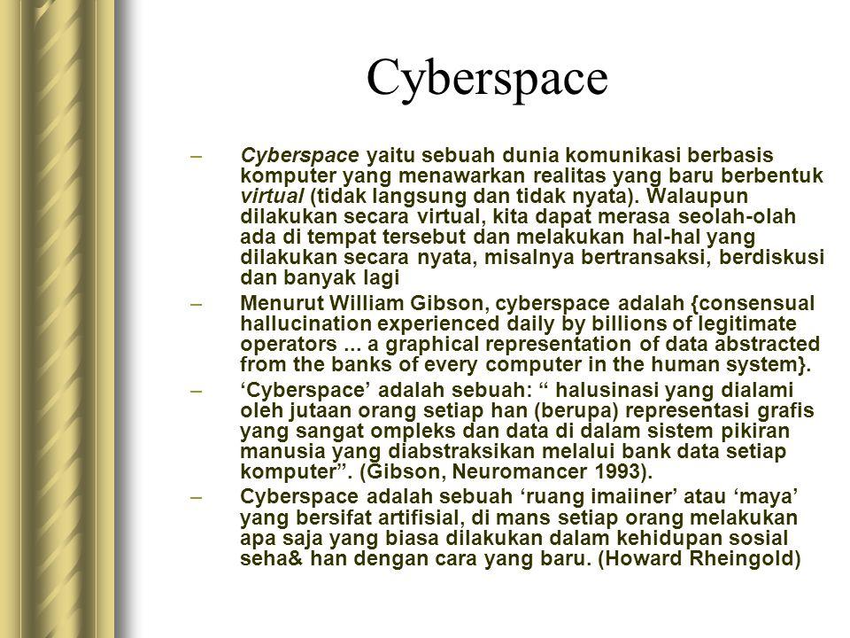 Cyberspace –Cyberspace yaitu sebuah dunia komunikasi berbasis komputer yang menawarkan realitas yang baru berbentuk virtual (tidak langsung dan tidak