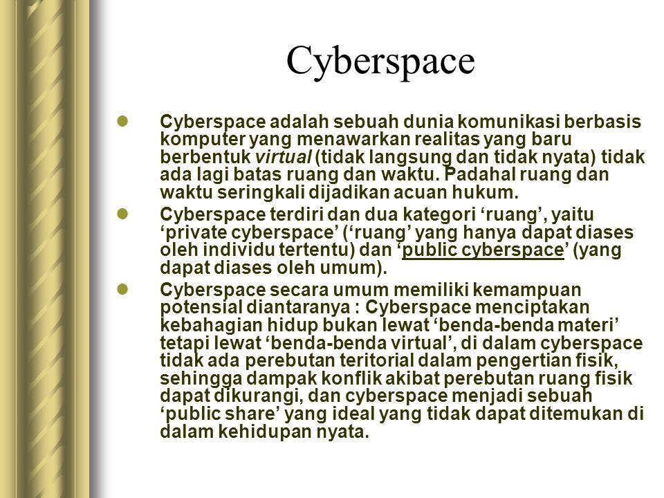 Cyberspace  Cyberspace adalah sebuah dunia komunikasi berbasis komputer yang menawarkan realitas yang baru berbentuk virtual (tidak langsung dan tida