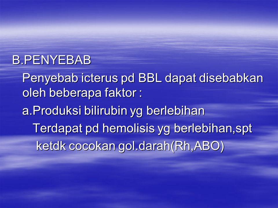 B.Gangguan transportasi dlm metabolisme B.Gangguan transportasi dlm metabolisme Transportasi bilirubin dlm darah terikat Transportasi bilirubin dlm darah terikat oleh albumin diangkut ke hepar, bila oleh albumin diangkut ke hepar, bila albumin menurun maka biliribin indirek albumin menurun maka biliribin indirek akan bebas beredar dlm darah, maka akan bebas beredar dlm darah, maka akan mudah melekat pada otak akan mudah melekat pada otak kern icterus kern icterus