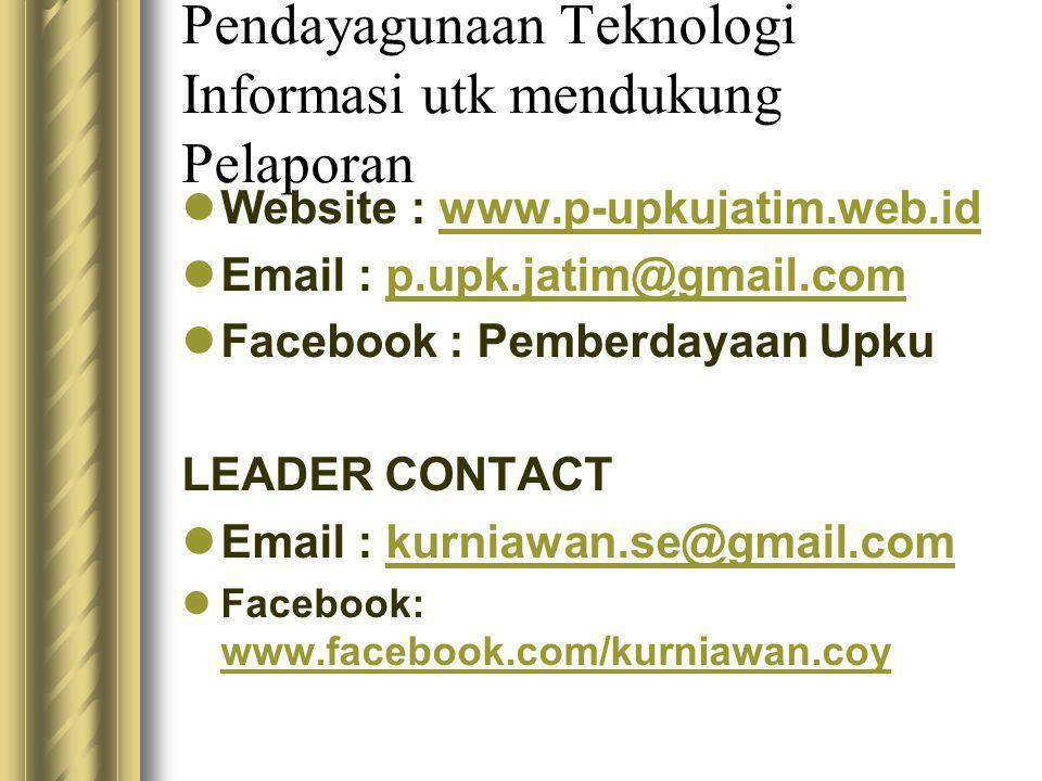 Pendayagunaan Teknologi Informasi utk mendukung Pelaporan  Website : www.p-upkujatim.web.idwww.p-upkujatim.web.id  Email : p.upk.jatim@gmail.comp.upk.jatim@gmail.com  Facebook : Pemberdayaan Upku LEADER CONTACT  Email : kurniawan.se@gmail.comkurniawan.se@gmail.com  Facebook: www.facebook.com/kurniawan.coy www.facebook.com/kurniawan.coy