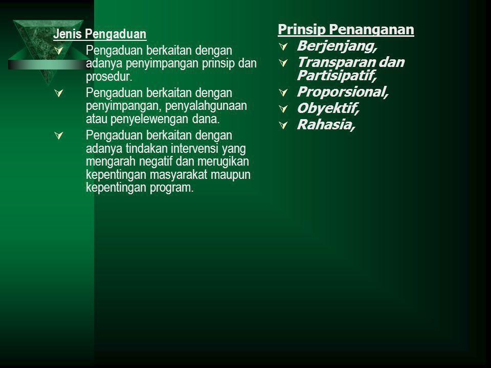 Jenis Pengaduan  Pengaduan berkaitan dengan adanya penyimpangan prinsip dan prosedur.  Pengaduan berkaitan dengan penyimpangan, penyalahgunaan atau