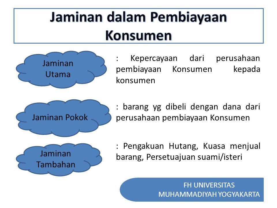 FH UNIVERSITAS MUHAMMADIYAH YOGYAKARTA Jaminan Utama : Kepercayaan dari perusahaan pembiayaan Konsumen kepada konsumen Jaminan Pokok : barang yg dibel
