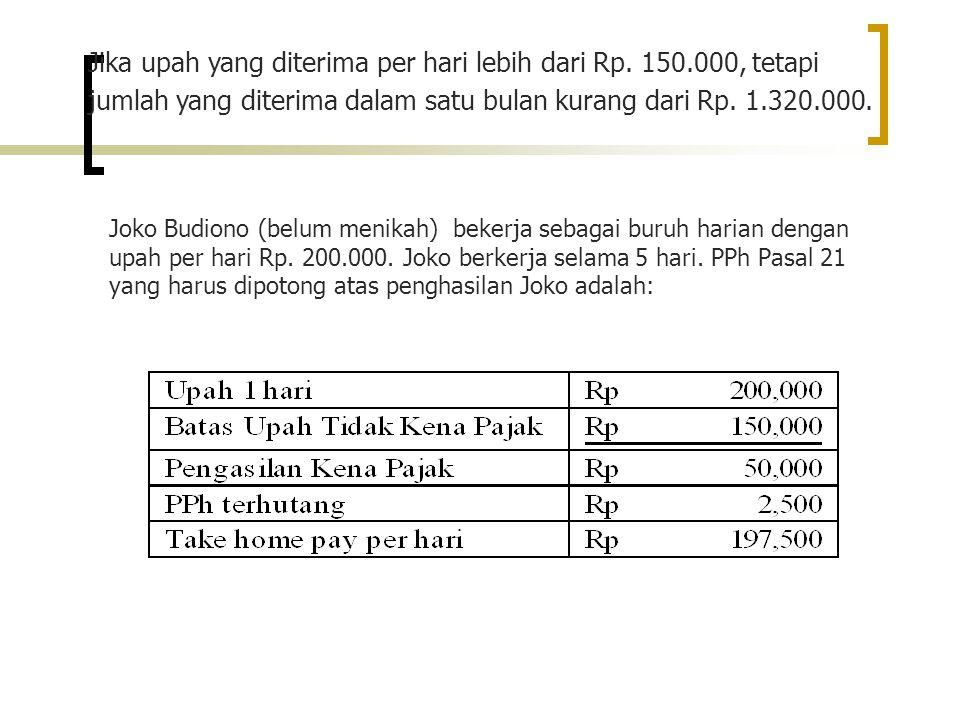 Joko Budiono (belum menikah) bekerja sebagai buruh harian dengan upah per hari Rp.