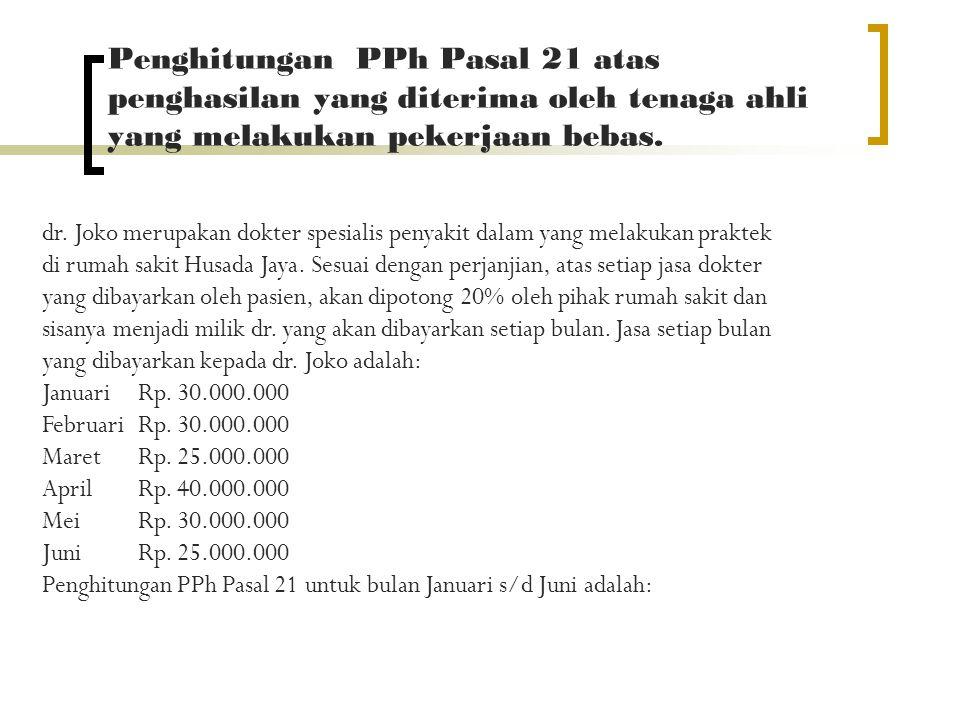 Penghitungan PPh Pasal 21 atas penghasilan yang diterima oleh tenaga ahli yang melakukan pekerjaan bebas.