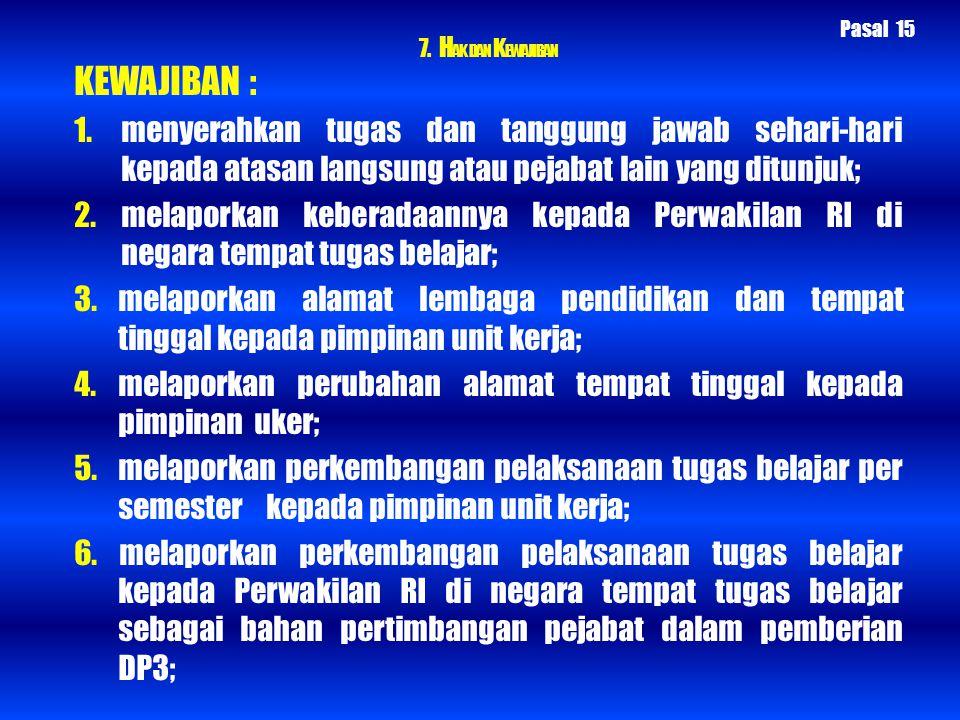 7. H AK DAN K EWAJIBAN KEWAJIBAN : 1. menyerahkan tugas dan tanggung jawab sehari-hari kepada atasan langsung atau pejabat lain yang ditunjuk; 2. mela