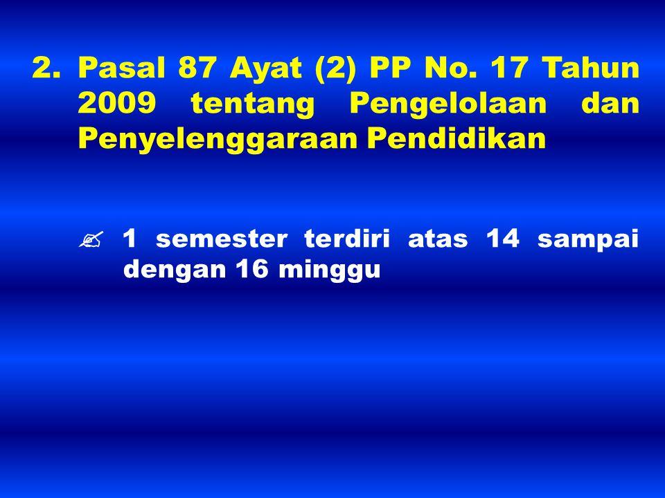 2. Pasal 87 Ayat (2) PP No. 17 Tahun 2009 tentang Pengelolaan dan Penyelenggaraan Pendidikan  1 semester terdiri atas 14 sampai dengan 16 minggu