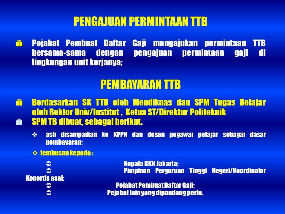 PENGAJUAN PERMINTAAN TTB  Pejabat Pembuat Daftar Gaji mengajukan permintaan TTB bersama-sama dengan pengajuan permintaan gaji di lingkungan unit kerj