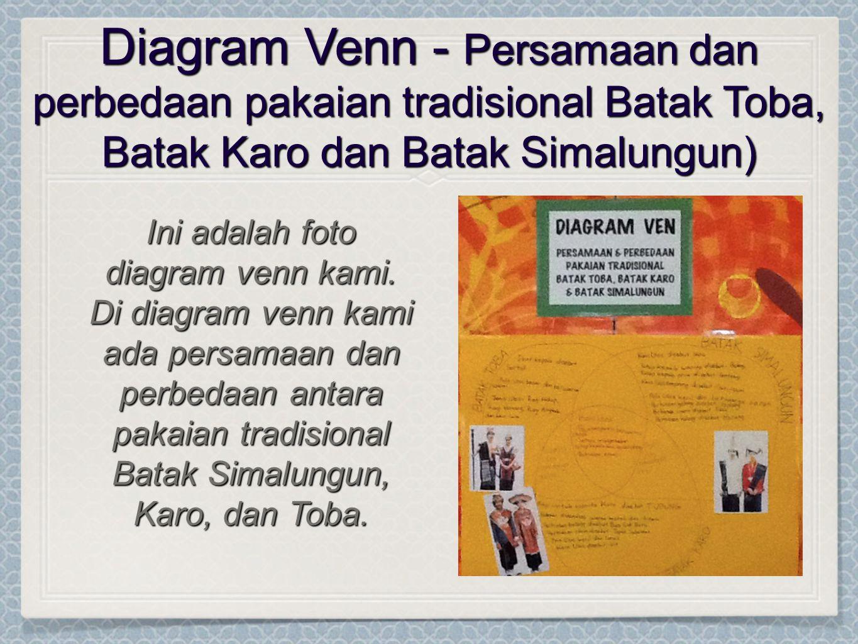 Diagram Venn - Persamaan dan perbedaan pakaian tradisional Batak Toba, Batak Karo dan Batak Simalungun) Ini adalah foto diagram venn kami.