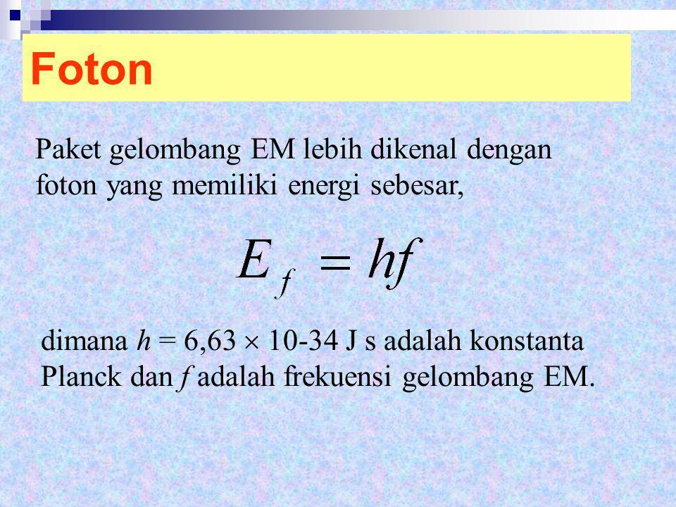 Foton Paket gelombang EM lebih dikenal dengan foton yang memiliki energi sebesar, dimana h = 6,63  10-34 J s adalah konstanta Planck dan f adalah fre