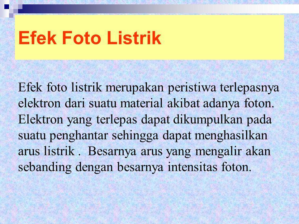 Efek Foto Listrik Efek foto listrik merupakan peristiwa terlepasnya elektron dari suatu material akibat adanya foton. Elektron yang terlepas dapat dik