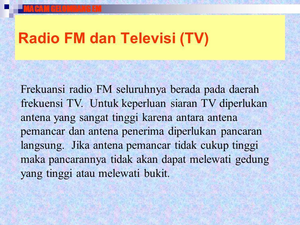 Radio FM dan Televisi (TV) Frekuansi radio FM seluruhnya berada pada daerah frekuensi TV. Untuk keperluan siaran TV diperlukan antena yang sangat ting