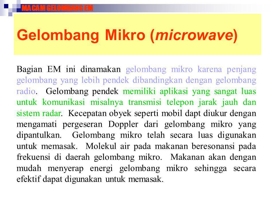 Gelombang Mikro (microwave) Bagian EM ini dinamakan gelombang mikro karena penjang gelombang yang lebih pendek dibandingkan dengan gelombang radio. Ge