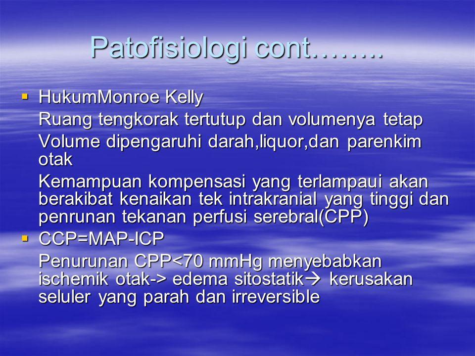 Patofisiologi cont……..  HukumMonroe Kelly Ruang tengkorak tertutup dan volumenya tetap Volume dipengaruhi darah,liquor,dan parenkim otak Kemampuan ko