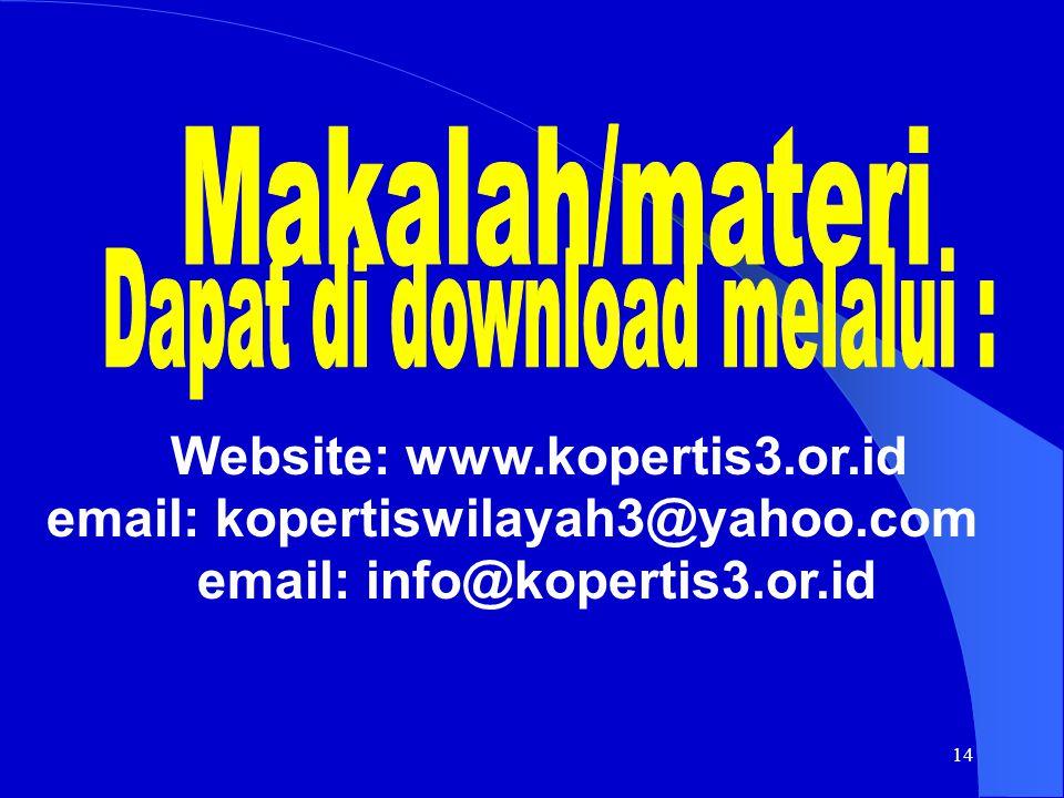 14 email: kopertiswilayah3@yahoo.com email: info@kopertis3.or.id Website: www.kopertis3.or.id