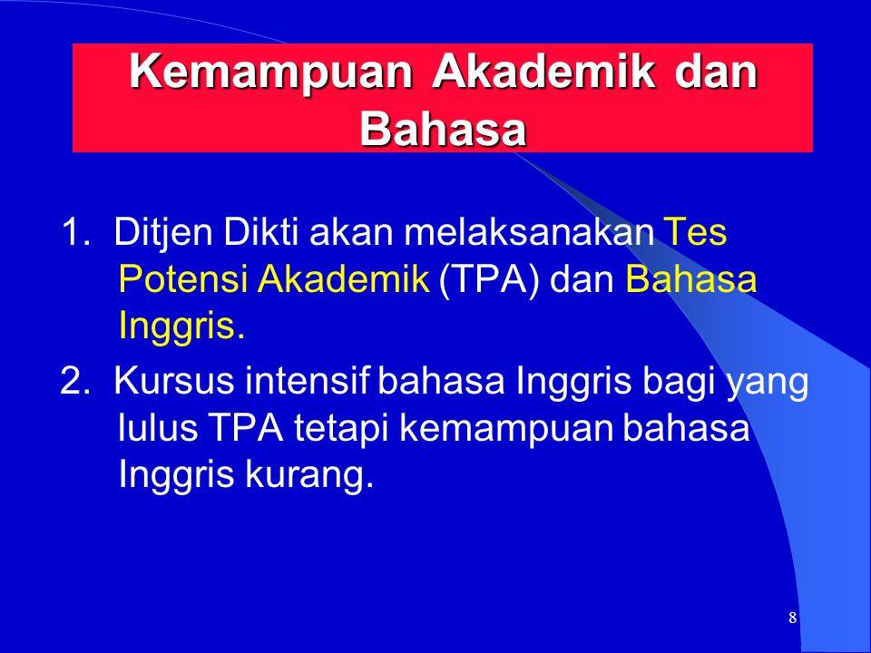 8 Kemampuan Akademik dan Bahasa 1. Ditjen Dikti akan melaksanakan Tes Potensi Akademik (TPA) dan Bahasa Inggris. 2. Kursus intensif bahasa Inggris bag