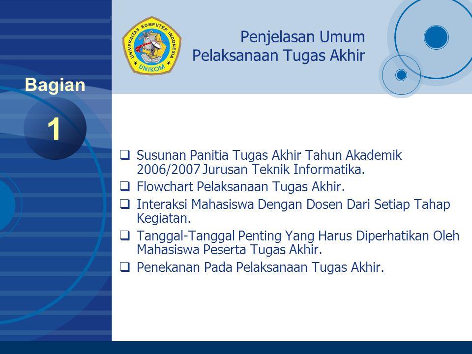 Company LOGO www.company.com Susunan Panitia Tugas Akhir Jurusan Teknik Informatika 2 Bagian Ketua:Budhi Irawan, S.Si, MT Bendahara:Khusnul Novianingsih, M.Si Bagian Proposal:Muhammad Nasrun, S.Si, M.T Manahan P Siallagan, S.Si, M.T Santi Novani, S.Si, MT Linda Salma, S.Si, M.T Bagian Seminar:Dian Dharmayanti, S.T Mira Kania Sabariah, M.T Santi Novani, S.Si, M.T Iskandar Ikbal, ST Bagian Sidang:Andri Heryandi, S.T Tati Harihayati M, S.T Irfan Maliki, S.T Bagian Sidang Yudisium:Nana Juhana, M.T Irawan Afrianto, S.T Bagian Dokumentasi:Galih Hermawan, S.Kom