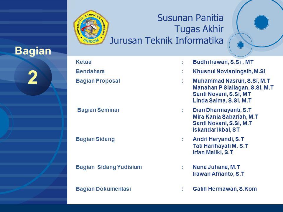 Company LOGO www.company.com Daftar Dosen Pembimbing Program Strata I 3 Bagian Pembimbing 1 1.Muhammad Nasrun, S.Si, M.T 2.Mira Kania Sabariah, M.T 3.Budhi Irawan, S.Si, M.T 4.Nana Juhana, M.T 5.Manahan P Siallagan, S.Si, M.T 6.Santi Novani, S.Si, M.T 7.Khusnul Novianingsih, M.Si 8.Linda Salma A, S.Si, M.T 9.Yeffry Handoko Putra, M.T 10.Angga Rusdinar, M.T 11.Ilham Perdana, M.T 12.Ir.