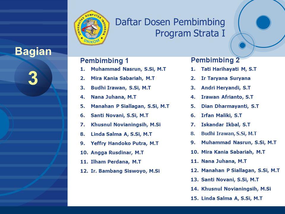Company LOGO www.company.com Daftar Dosen Pembimbing Program Strata I 3 Bagian Pembimbing 1 1.Muhammad Nasrun, S.Si, M.T 2.Mira Kania Sabariah, M.T 3.