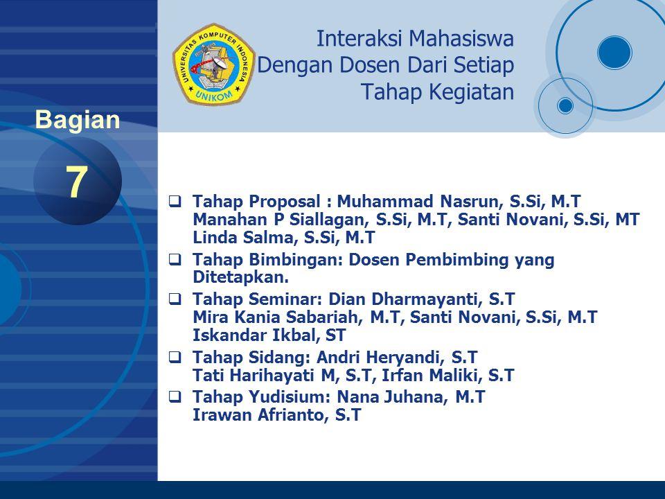 Company LOGO www.company.com Tanggal-Tanggal Penting Pelaksanaan TA 8 Bagian No.KEGIATANRENTANG WAKTUBATAS WAKTU (DEADLINE) 1Penyerahan Proposal30 September s/d 07 Oktober 200607 Oktober 2006 pukul 13:30 WIB 2.Sidang Proposal09 Oktober 200609 Oktober 2006 pukul 13:30 WIB 3.Pengumuman Proposal10 Oktober 200610 Oktober 2006 pukul 15:00 WIB 4.Perbaikan Proposal10 s/d 13 Oktober 200613 Oktober 2006 pukul 13:30 WIB 5.Hasil Proposal & Pembimbing14 Oktober 200614 Oktober 2006 pukul 15:00 WIB 6.Bimbingan30 Oktober 2006 s/d 20 Januari 200720 Januari 2007 7.Periode Bimbingan TA tahap I30 Oktober 2006 s/d 25 November 200625 November 2006 8.Kemajuan TA tahap I25 November 2006 9.Periode Bimbingan TA tahap II27 November 2006 s/d 23 Desember 200623 Desember 2006 10.Kemajuan TA tahap II23 Desember 2006 11.Periode Bimbingan TA tahap III27 Desember 2006 s/d 20 Januari 200720 Januari 2007 12.Kemajuan TA tahap III20 Januari 2007 13.Pengambilan Form Seminar17 s/d 24 Januari 200724 Januari 2007 pukul 13:30 WIB 14.Penyerahan Form Seminar22 s/d 27 Januari 200718 Januari 2007 pukul 13:30 WIB 15.Pelaksanaan Seminar05 s/d 14 Februari 200714 Februari 2007 pukul 17:00 WIB 16.Pengambilan Form Sidang07 s/d 14 Februari 200714 Februari 2007 pukul 13:30 WIB 17.Pelaksanaan Sidang08 s/d 17 Februari 200717 Februari 2007 pukul 13:30 WIB 18.Pelaksanaan Sidang Yudisium24 Februari 200724 Februari 2007 pukul 09.00 WIB