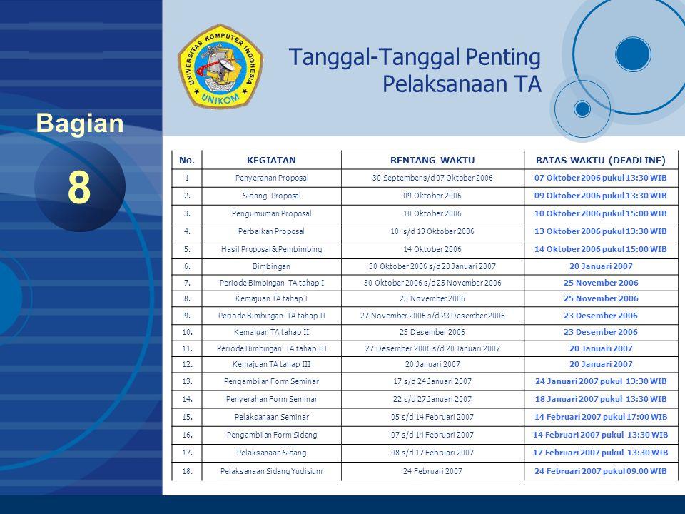 Company LOGO www.company.com Tanggal-Tanggal Penting Pelaksanaan TA 8 Bagian No.KEGIATANRENTANG WAKTUBATAS WAKTU (DEADLINE) 1Penyerahan Proposal30 Sep