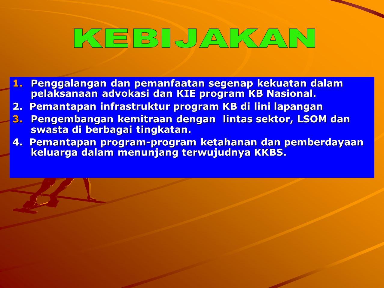 1.Penggalangan dan pemanfaatan segenap kekuatan dalam pelaksanaan advokasi dan KIE program KB Nasional. 2. Pemantapan infrastruktur program KB di lini