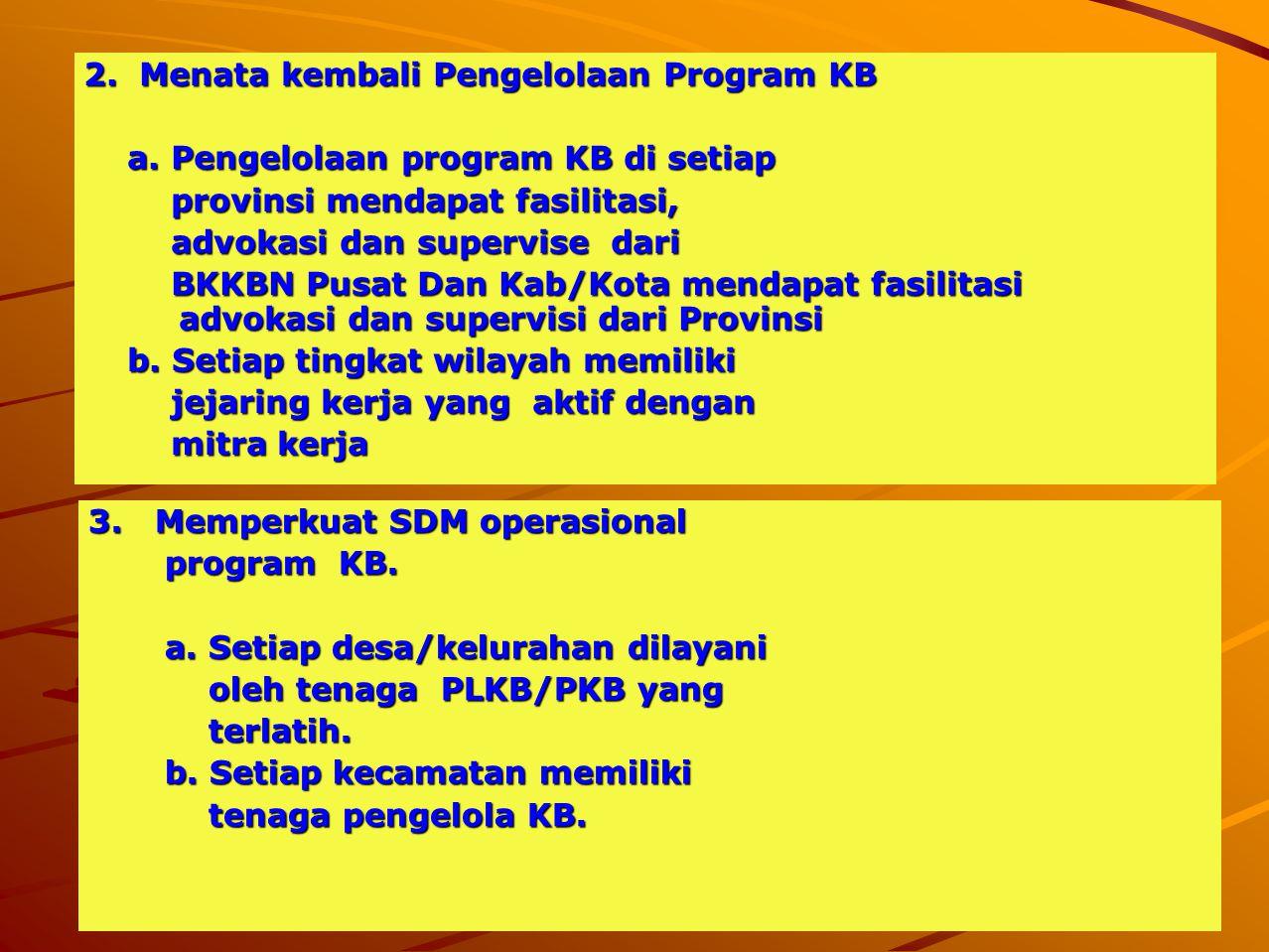 2. Menata kembali Pengelolaan Program KB a. Pengelolaan program KB di setiap a. Pengelolaan program KB di setiap provinsi mendapat fasilitasi, provins