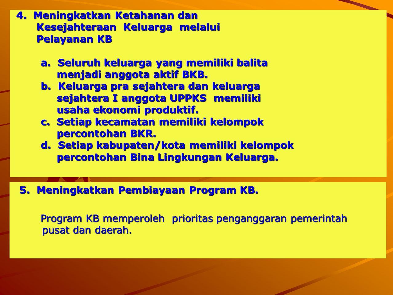 4. Meningkatkan Ketahanan dan 4. Meningkatkan Ketahanan dan Kesejahteraan Keluarga melalui Kesejahteraan Keluarga melalui Pelayanan KB Pelayanan KB a.