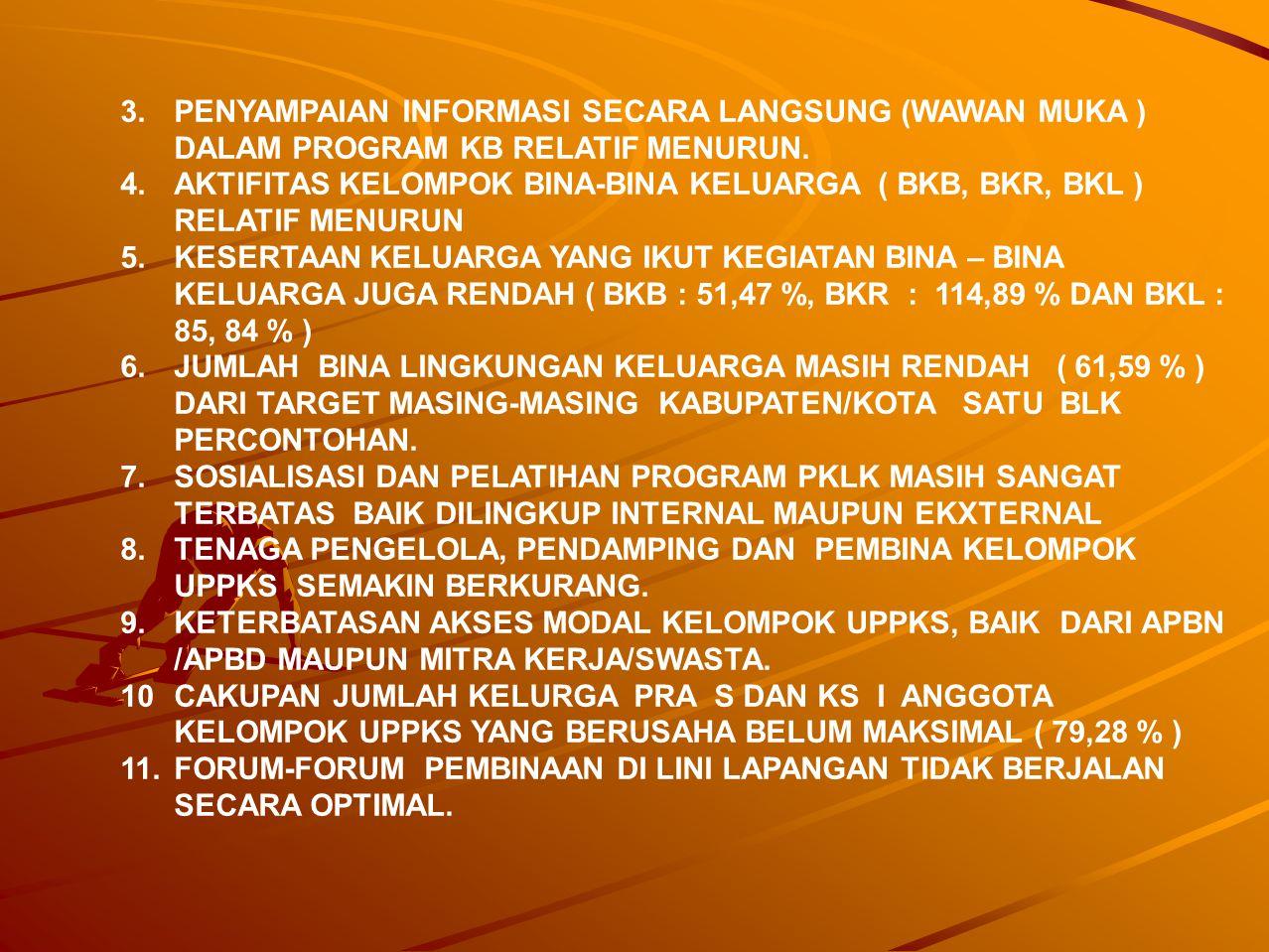 3. PENYAMPAIAN INFORMASI SECARA LANGSUNG (WAWAN MUKA ) DALAM PROGRAM KB RELATIF MENURUN. 4.AKTIFITAS KELOMPOK BINA-BINA KELUARGA ( BKB, BKR, BKL ) REL