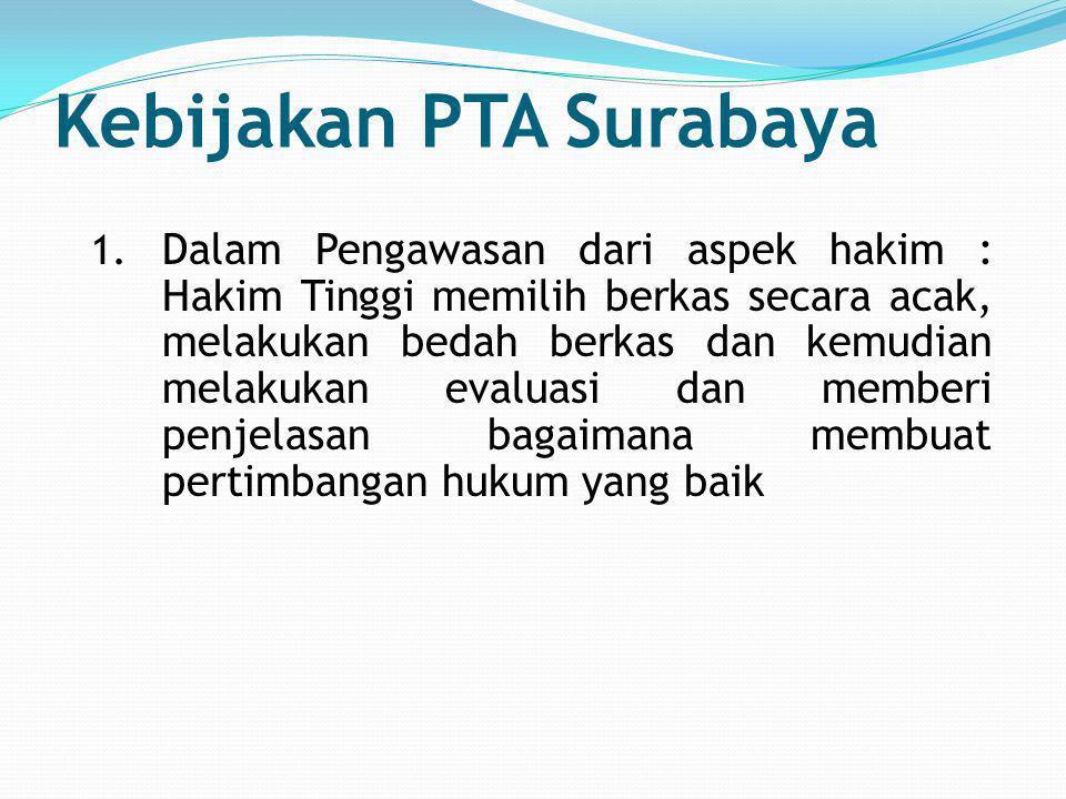 Kebijakan PTA Surabaya 1. Dalam Pengawasan dari aspek hakim : Hakim Tinggi memilih berkas secara acak, melakukan bedah berkas dan kemudian melakukan e