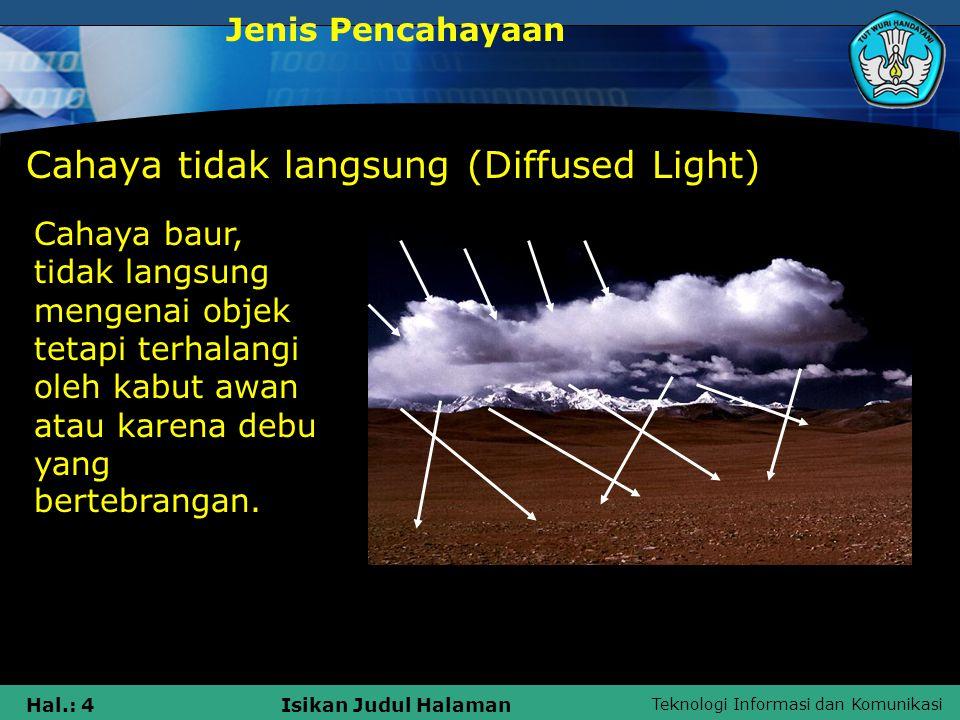 Teknologi Informasi dan Komunikasi Hal.: 5Isikan Judul Halaman Reflected Light Jenis Pencahayaan Cahaya yang dipantulkan, terjadi ketika direct light memantul dari permukaan tertentu.Reflekto r : Air, cermin, Tembok berwarna putih, pasir, batuan dan jalan beraspal.