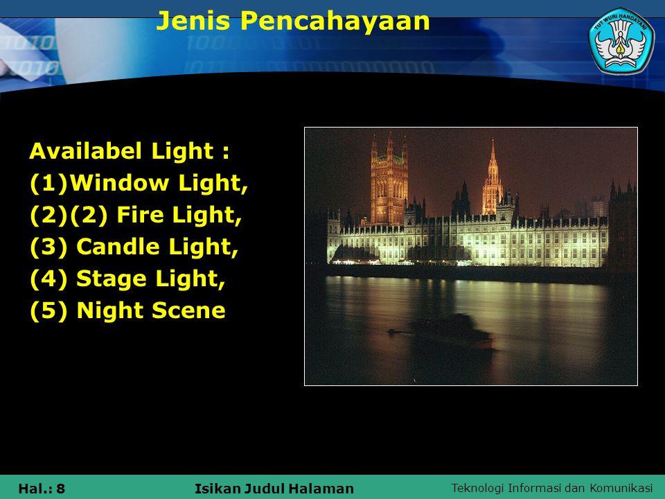 Teknologi Informasi dan Komunikasi Hal.: 8Isikan Judul Halaman Availabel Light : (1)Window Light, (2)(2) Fire Light, (3) Candle Light, (4) Stage Light