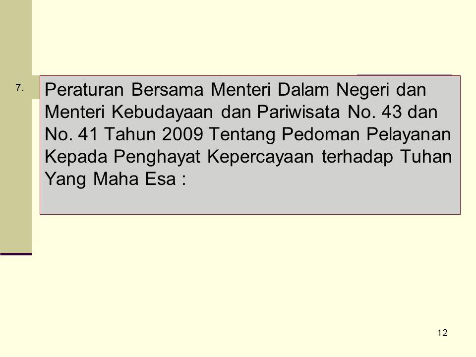 12 Peraturan Bersama Menteri Dalam Negeri dan Menteri Kebudayaan dan Pariwisata No.
