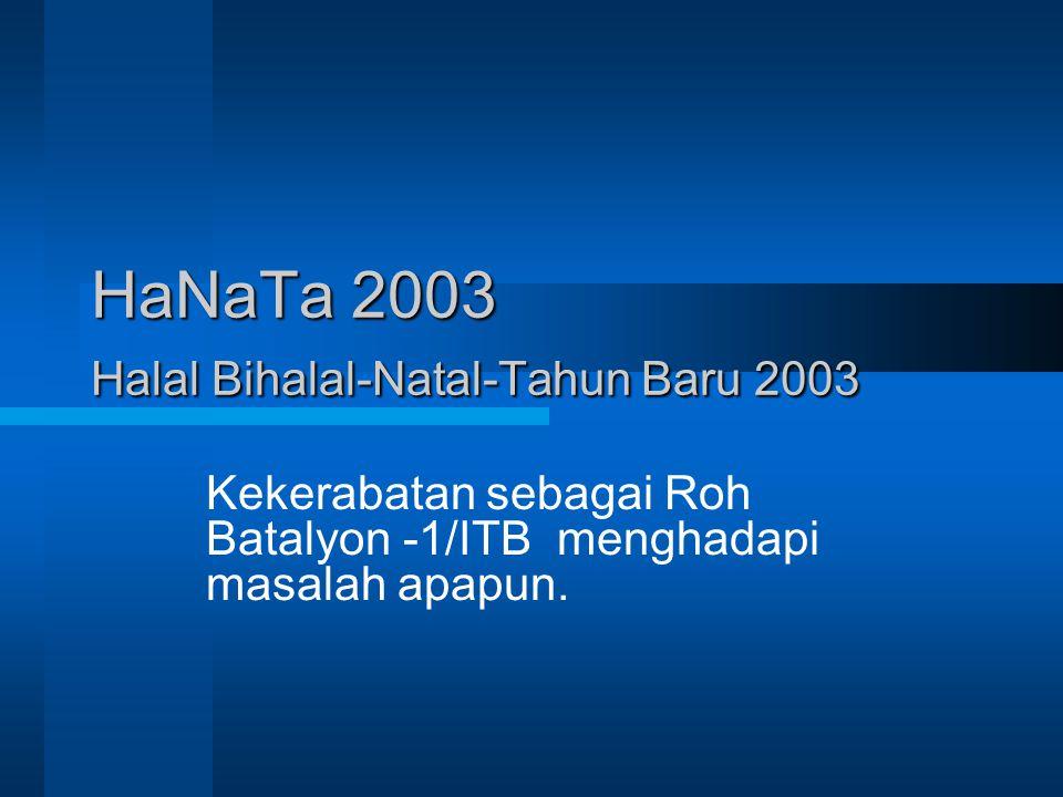 HaNaTa 2003 Halal Bihalal-Natal-Tahun Baru 2003 Kekerabatan sebagai Roh Batalyon -1/ITB menghadapi masalah apapun.