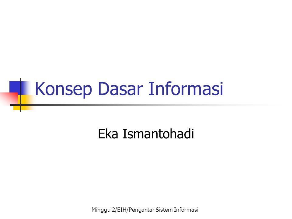 Minggu 2/EIH/Pengantar Sistem Informasi Konsep Dasar Informasi Eka Ismantohadi