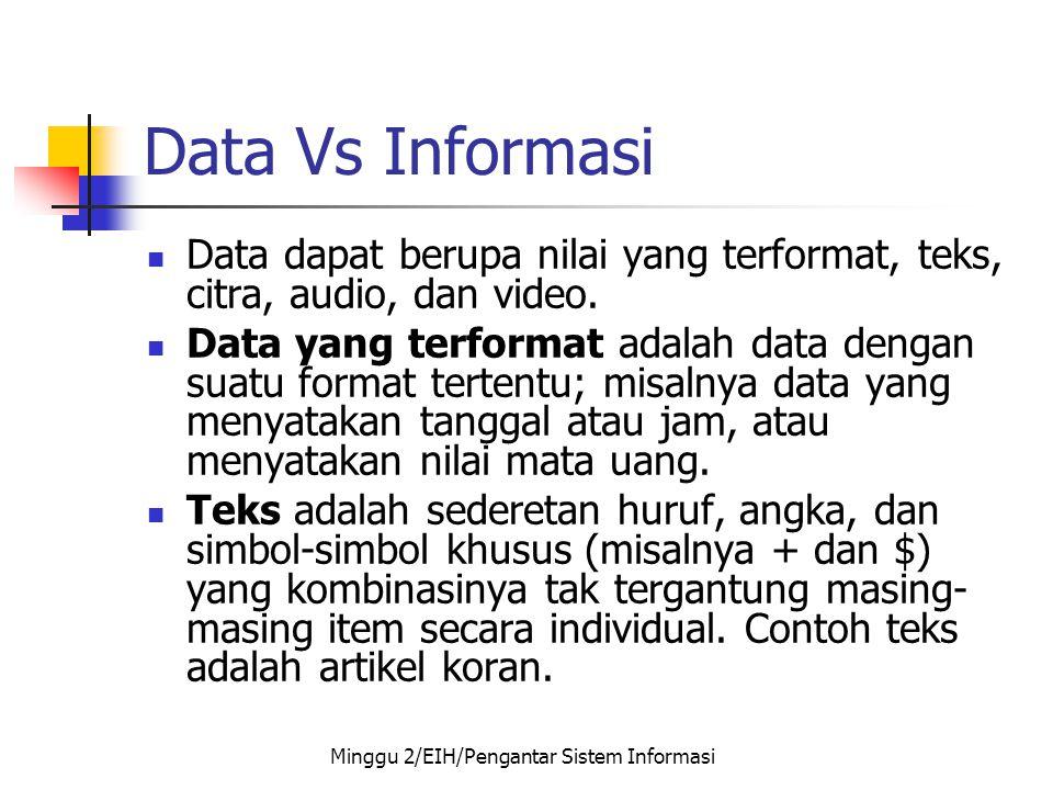 Data Vs Informasi  Data dapat berupa nilai yang terformat, teks, citra, audio, dan video.  Data yang terformat adalah data dengan suatu format terte