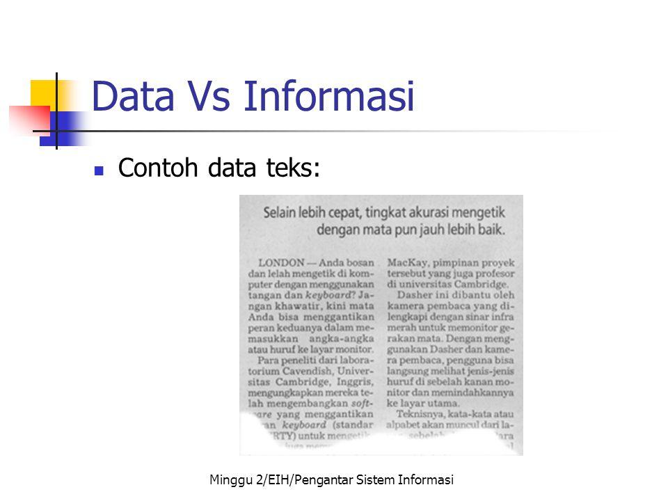 Data Vs Informasi  Contoh data teks: Minggu 2/EIH/Pengantar Sistem Informasi