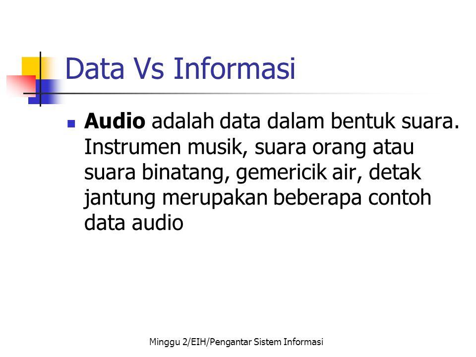 Data Vs Informasi  Audio adalah data dalam bentuk suara. Instrumen musik, suara orang atau suara binatang, gemericik air, detak jantung merupakan beb