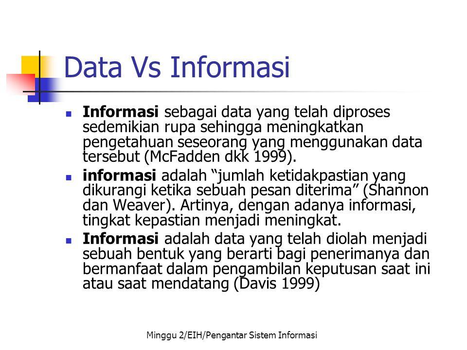 Data Vs Informasi  Informasi sebagai data yang telah diproses sedemikian rupa sehingga meningkatkan pengetahuan seseorang yang menggunakan data terse