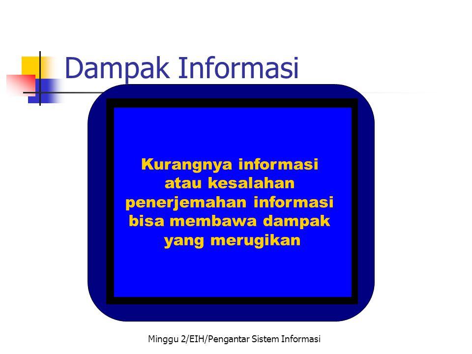 Dampak Informasi Kurangnya informasi atau kesalahan penerjemahan informasi bisa membawa dampak yang merugikan Minggu 2/EIH/Pengantar Sistem Informasi