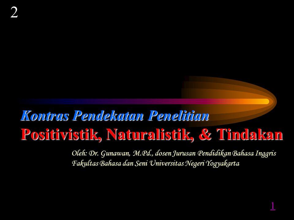 Kontras Pendekatan P PP Penelitian Positivistik, Naturalistik, & Tindakan Oleh: Dr.