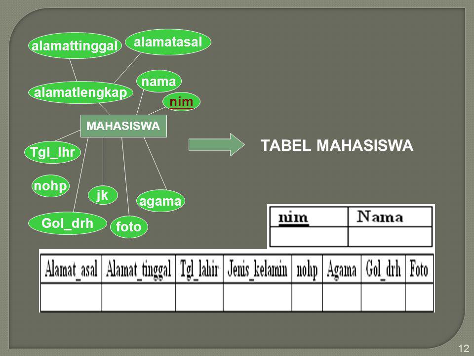 12 MAHASISWA nim nama alamatlengkap alamatasal alamattinggal Tgl_lhr Gol_drh nohp jk foto agama TABEL MAHASISWA