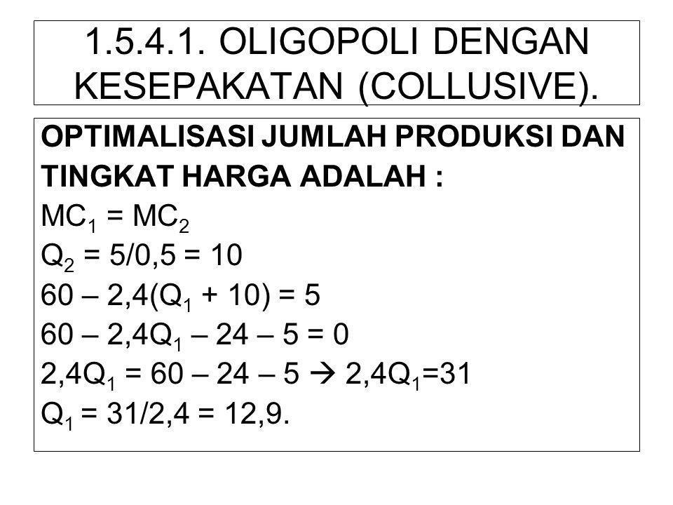 1.5.4.1. OLIGOPOLI DENGAN KESEPAKATAN (COLLUSIVE). OPTIMALISASI JUMLAH PRODUKSI DAN TINGKAT HARGA ADALAH : MC 1 = MC 2 Q 2 = 5/0,5 = 10 60 – 2,4(Q 1 +