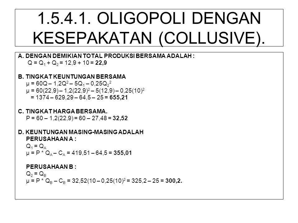 1.5.4.1. OLIGOPOLI DENGAN KESEPAKATAN (COLLUSIVE). A. DENGAN DEMIKIAN TOTAL PRODUKSI BERSAMA ADALAH : Q = Q 1 + Q 2 = 12,9 + 10 = 22,9 B. TINGKAT KEUN