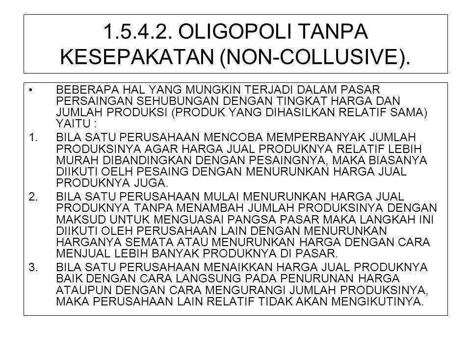 1.5.4.2. OLIGOPOLI TANPA KESEPAKATAN (NON-COLLUSIVE). •BEBERAPA HAL YANG MUNGKIN TERJADI DALAM PASAR PERSAINGAN SEHUBUNGAN DENGAN TINGKAT HARGA DAN JU