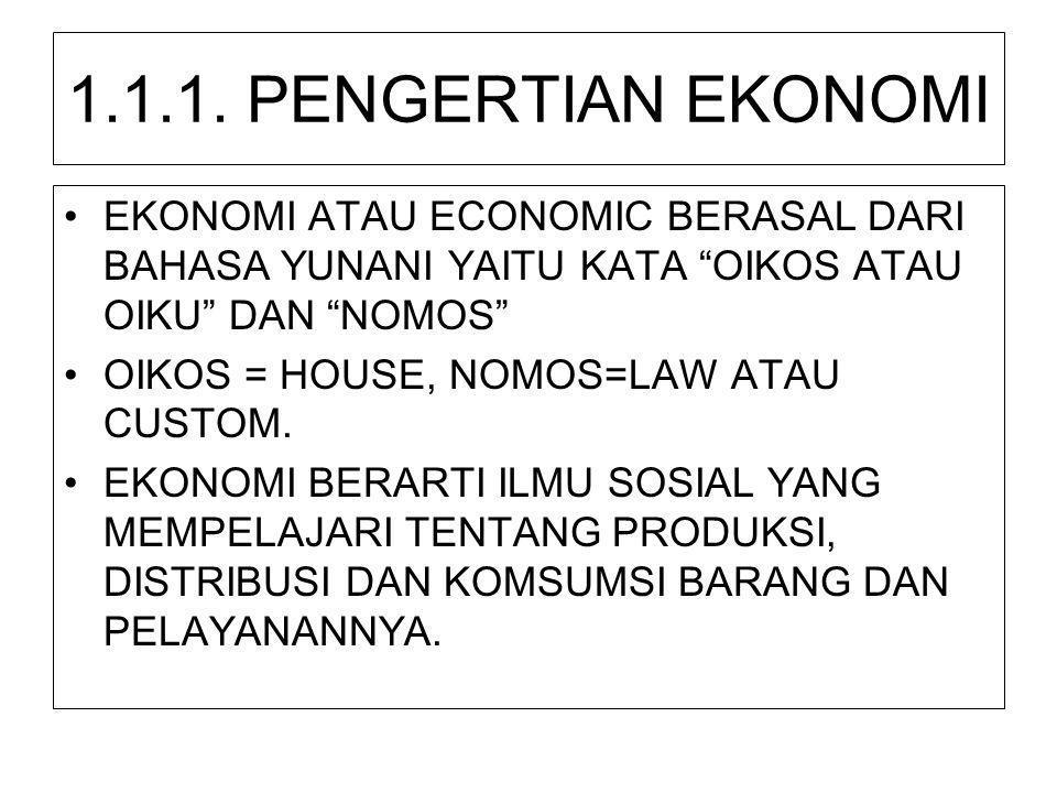 "1.1.1. PENGERTIAN EKONOMI •EKONOMI ATAU ECONOMIC BERASAL DARI BAHASA YUNANI YAITU KATA ""OIKOS ATAU OIKU"" DAN ""NOMOS"" •OIKOS = HOUSE, NOMOS=LAW ATAU CU"