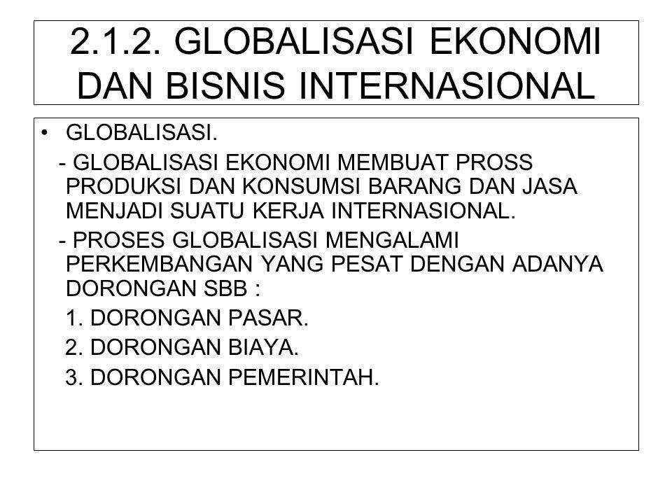 2.1.2. GLOBALISASI EKONOMI DAN BISNIS INTERNASIONAL •GLOBALISASI. - GLOBALISASI EKONOMI MEMBUAT PROSS PRODUKSI DAN KONSUMSI BARANG DAN JASA MENJADI SU