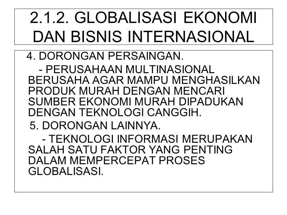 2.1.2. GLOBALISASI EKONOMI DAN BISNIS INTERNASIONAL 4. DORONGAN PERSAINGAN. - PERUSAHAAN MULTINASIONAL BERUSAHA AGAR MAMPU MENGHASILKAN PRODUK MURAH D