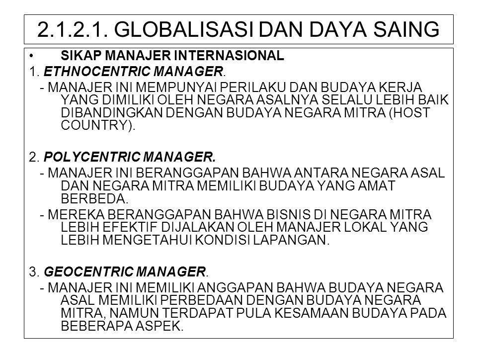 2.1.2.1. GLOBALISASI DAN DAYA SAING •SIKAP MANAJER INTERNASIONAL 1. ETHNOCENTRIC MANAGER. - MANAJER INI MEMPUNYAI PERILAKU DAN BUDAYA KERJA YANG DIMIL