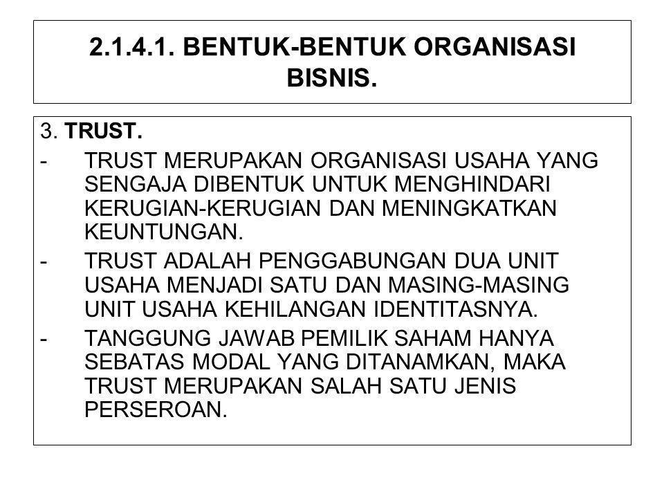 2.1.4.1. BENTUK-BENTUK ORGANISASI BISNIS. 3. TRUST. -TRUST MERUPAKAN ORGANISASI USAHA YANG SENGAJA DIBENTUK UNTUK MENGHINDARI KERUGIAN-KERUGIAN DAN ME